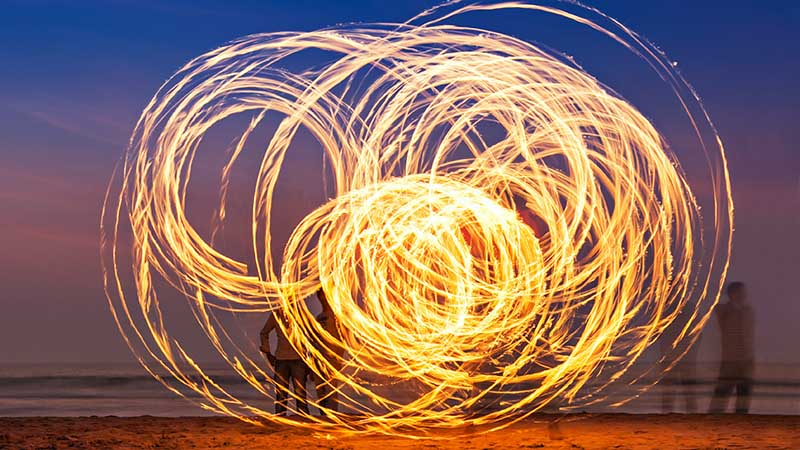 travel to goa and artistic fireshow