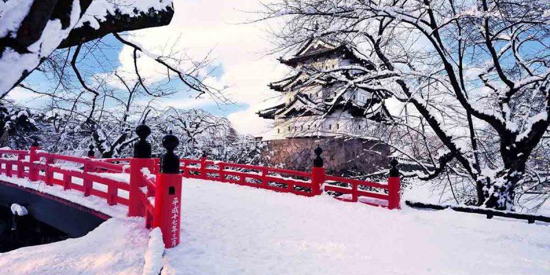 japan-aomori-prefecture-hirosaki-winter-snow-bridge-castel-ice-trees