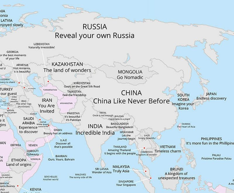 شعار گردشگری کشورها آسیایی