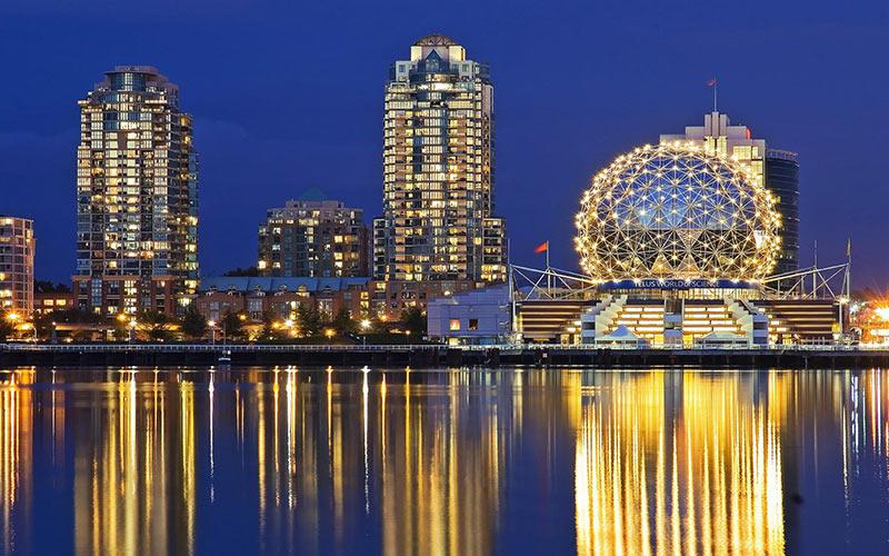 شهر ونکوور در شب