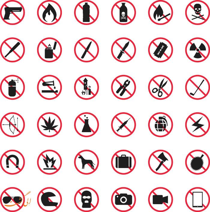 وسایل ممنوع در هواپیما