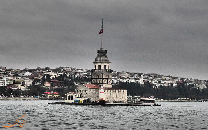 عکس قدیمی از برج دختر در استانبول