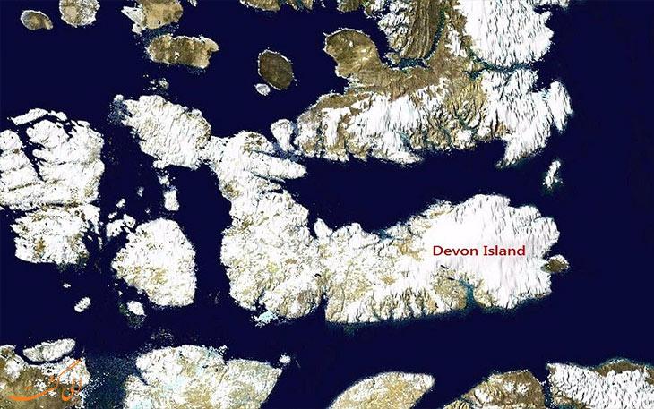 جزیره دوون روی نقشه