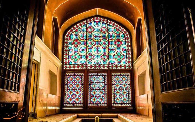 پنجره های رنگی باغ دولت آباد یزد