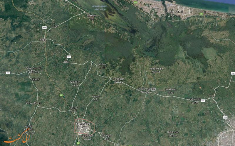 نقشه هوایی بخش صومعه سرا