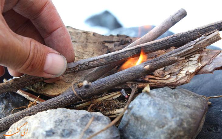 نحوه تهیه آتش در طبیعت
