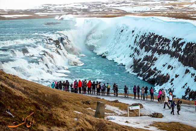 آبشار Gullfoss در ایسلند