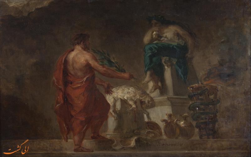 تصویری انتزاعی از معبد دلفی