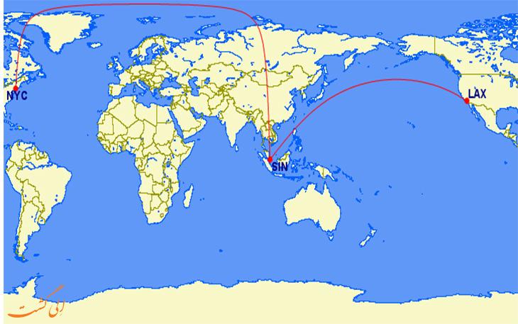 مسیر پروازی سنگاپور ایرلاینز