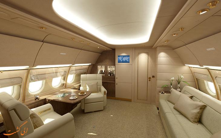 فضای داخل هواپیمای خصوصی