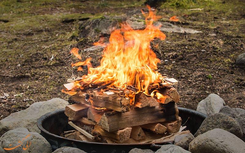 آتش درست کردن در طبیعت -مدل هرمی