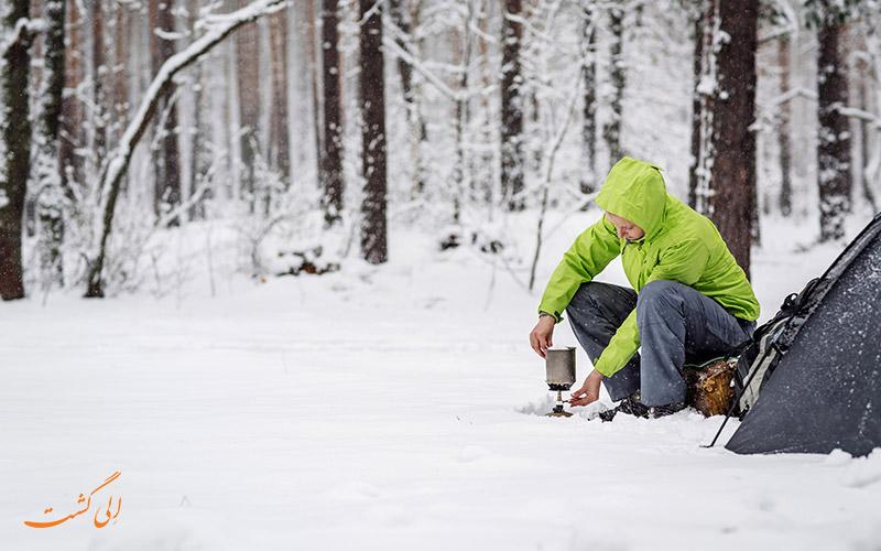 اجاق گاز کوهنوردی در هوای سرد