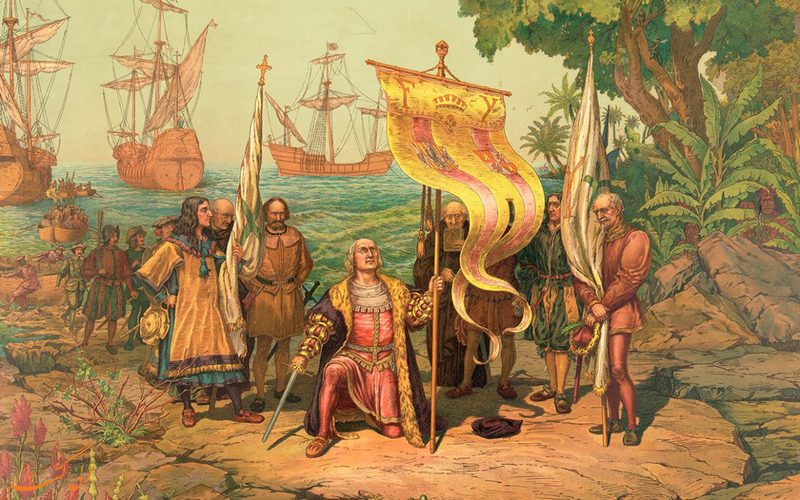تصویری از کریستوف کلمب هنگام ورود به آمریکا