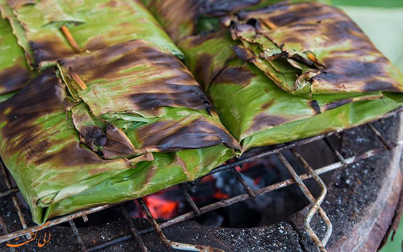 پخت غذا بر روی آتش با بسته بندی غذا