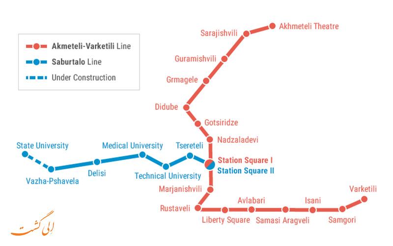 نقشه متروی تفلیس
