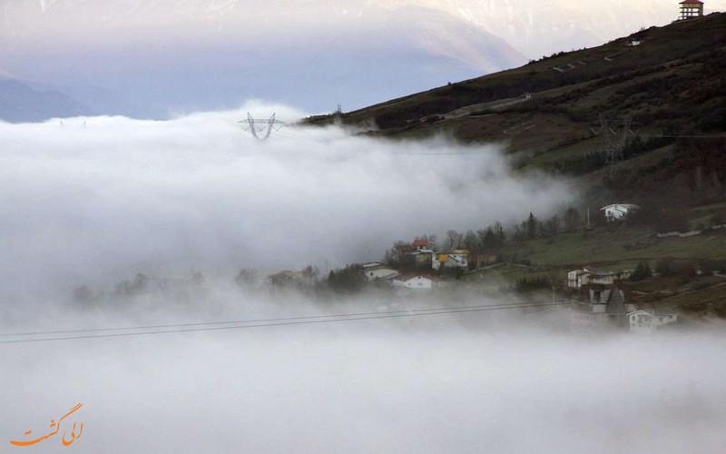 تصاویر کلاردشت شمال در هوای مه آلود بالای ابر