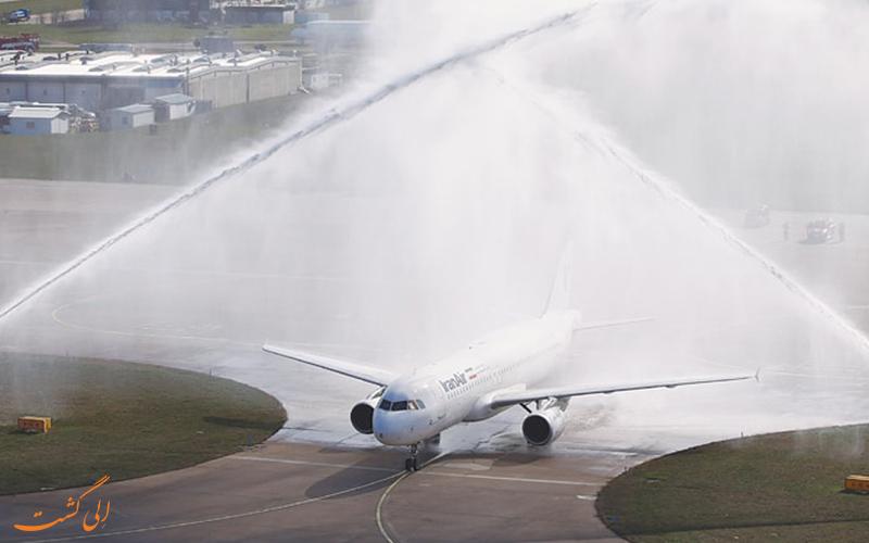 رسم واتر سالوت برای هواپیماها