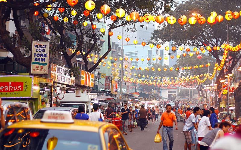 بازار شبانه غذاهای خیابان جالان آلور کوالالامپور