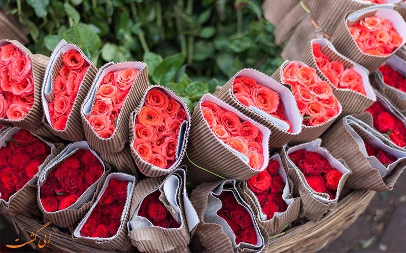 انوع گل ها در بازار گل دادار بمبئی