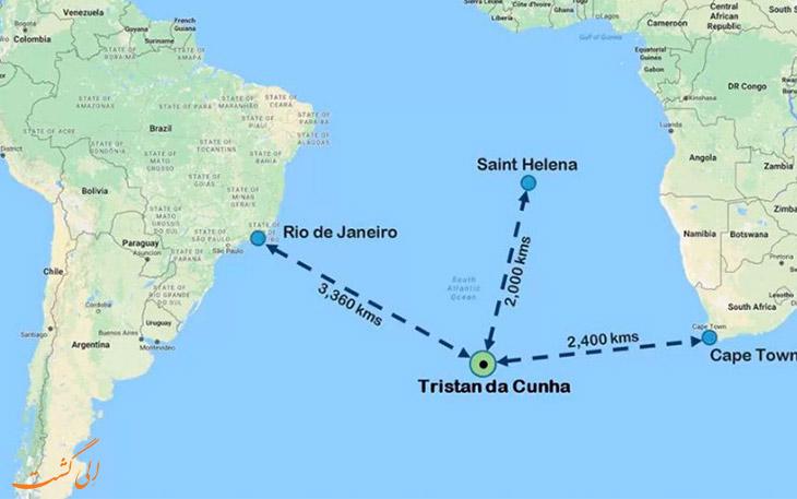 نقشه جزیره تریستان دا کونا