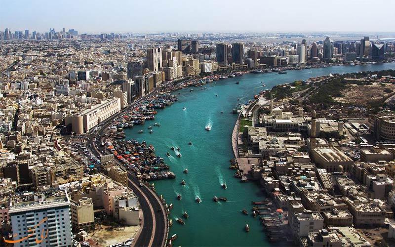 نمای شهر و نهر دبی از بالا-هتل رین تری دبی