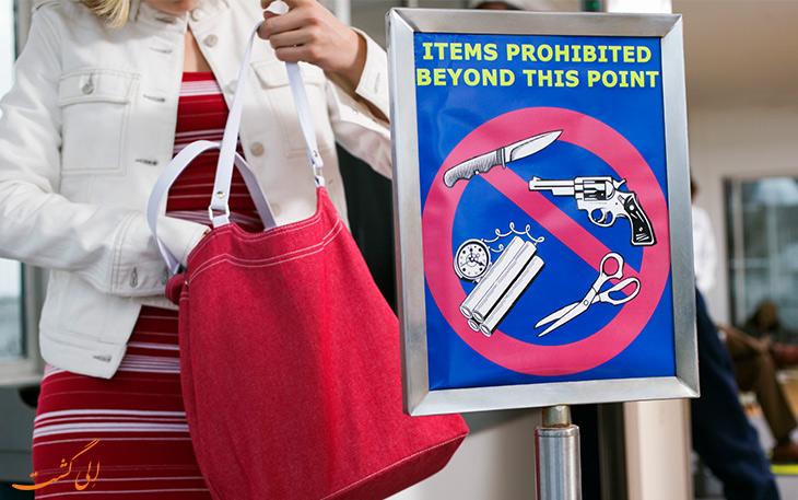 وسایل ممنوعه در هواپیما