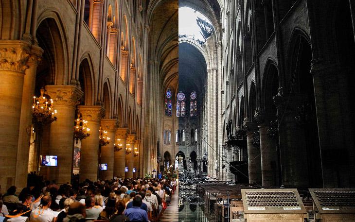 فضای داخل کلیسای نوتردام بعد از آتش سوزی