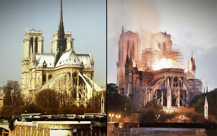 نمای کلیسای نوتردام بعد از آتش سوزی