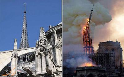 تصاویر آتشسوزی نوتردام پاریس