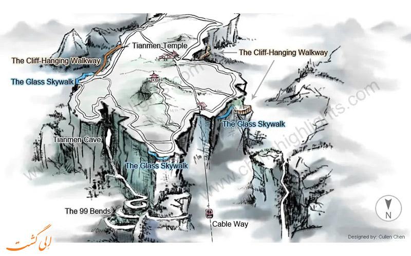 نقشه-جاذبه-های پارک ملی تیانمن چین