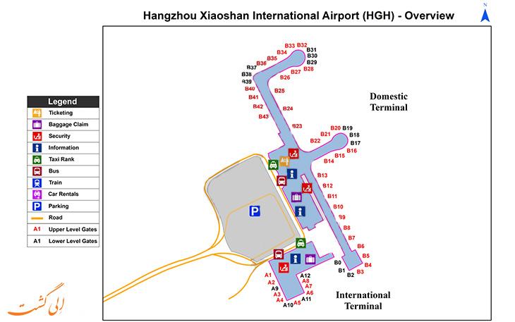نقشه فرودگاه هانگزو چین