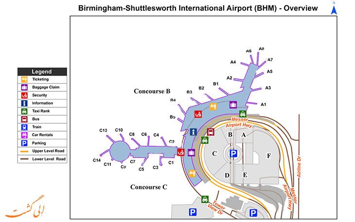 نقشه فرودگاه بیرمنگام انگلستان