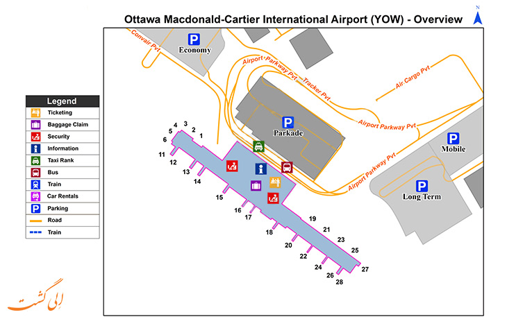 نقشه فرودگاه بین المللی اتاوا کانادا