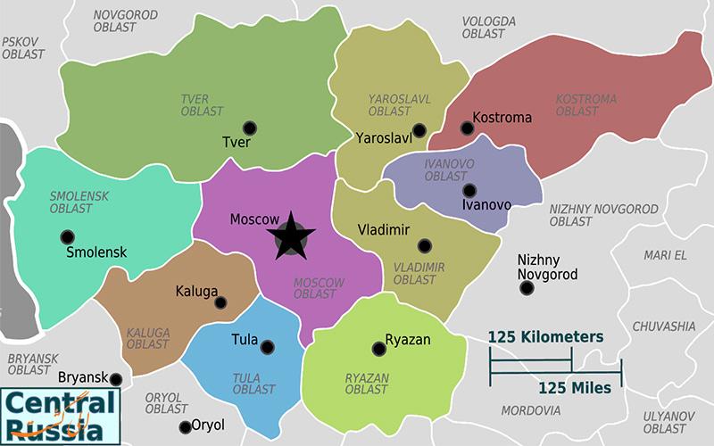 ایالت روسیه مرکزی با شهر مسکو-نقشه کامل روسیه