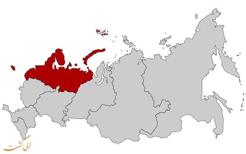 ایالت شمال غربی فدرالی-نقشه کامل روسیه