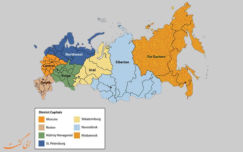 نقشه کامل روسیه به همراه ایالت های آن