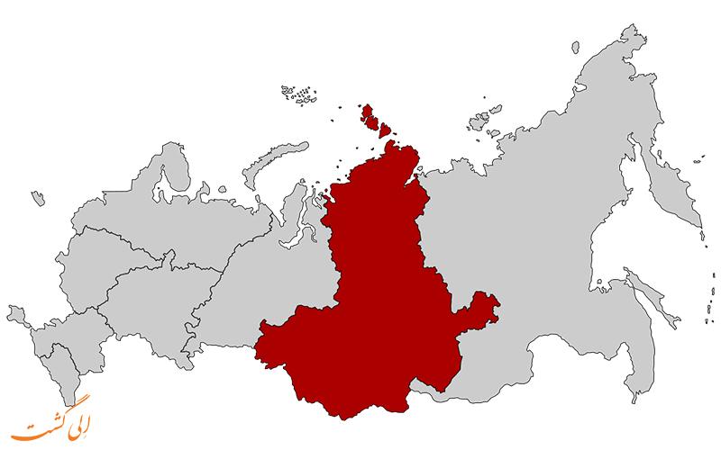 ایالت فدرالی سیبری در نقشه کامل روسیه
