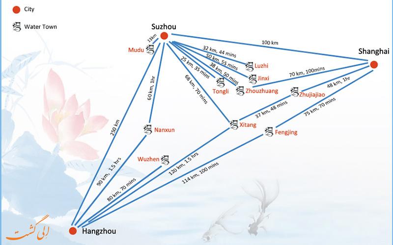 نقشه راهنمای معروف ترین شهرهای آبی چین