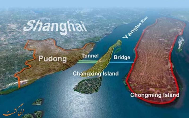 نما و نقشه جزیره چونگمینگ شانگهای