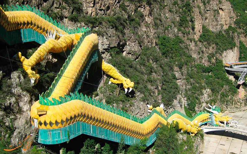 پله برقی اژدهای طلایی در جاذبههای طبیعت گردی پکن