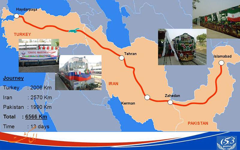 نقشه مسیر حرکت قطار تهران استانبول