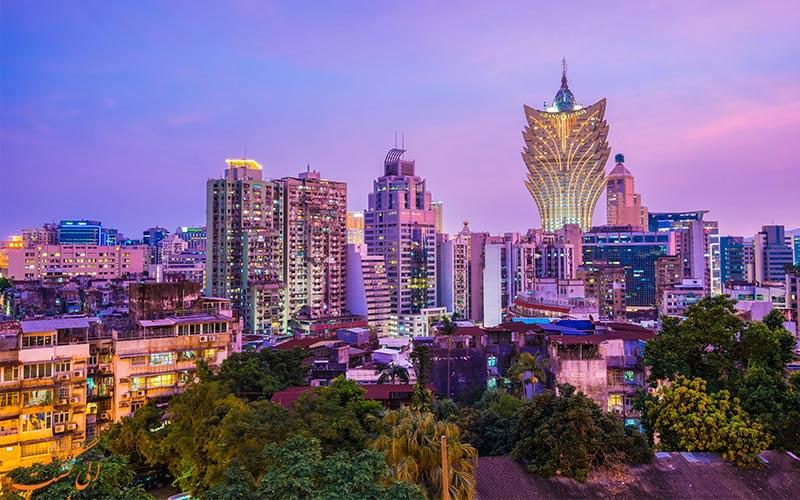 نمای برج های شهری ماکائو در شب-تفاوت هنگکنگ، ماکائو و چین