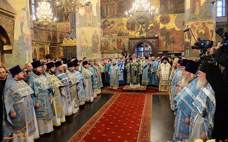 یکی از مراسم های مذهبی در کلیاسی جامع بشارت در مسکو