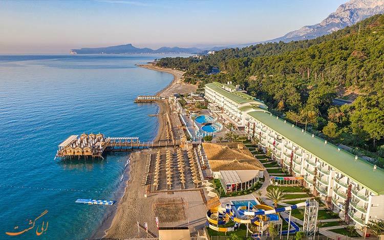 ساحل خصوصی آنتالیا در هتل گرند پارک-بهترین هتل های 4 ستاره آنتالیا