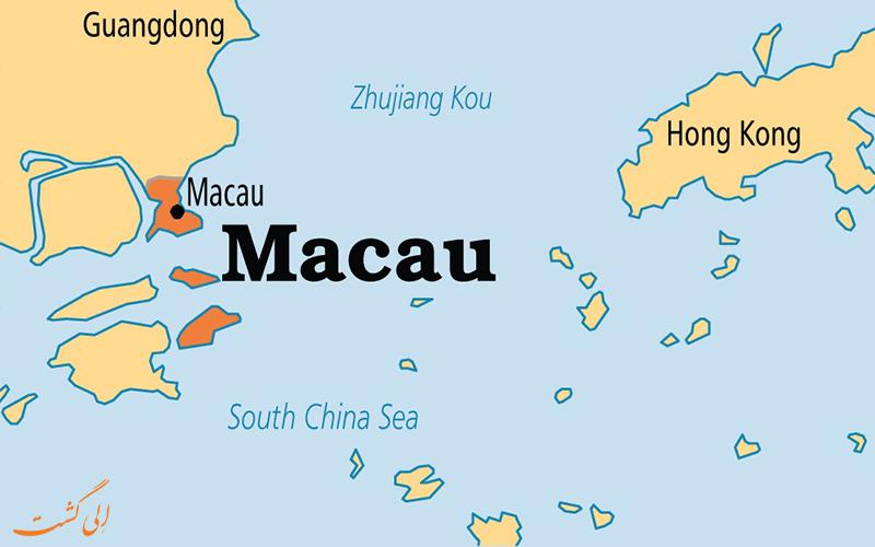 نقشه ماکائو و جزایر آن در کنار هنگ کنگ
