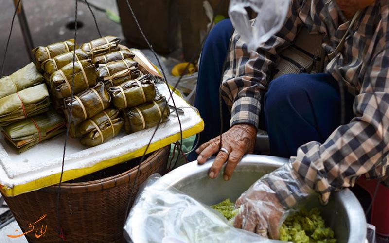 شیربرنج نارگیلی در برگ موز