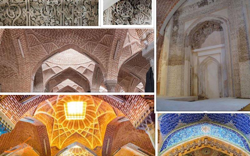 کلاژی از گچ بری ها و ویژگی های معماری مسجد جامع تبریز