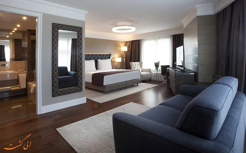 محیط نشیمن یکی از اتاق های هتل رادیسون بلو استانبول