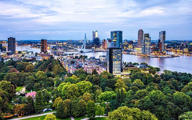 نمایی از شهر روتردام، یکی از بهترین شهرهای هلند برای زندگی