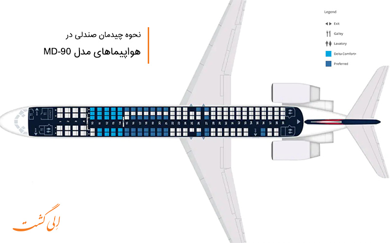 صندلی های کابین در هواپیما بوئینگ امدی سری 90